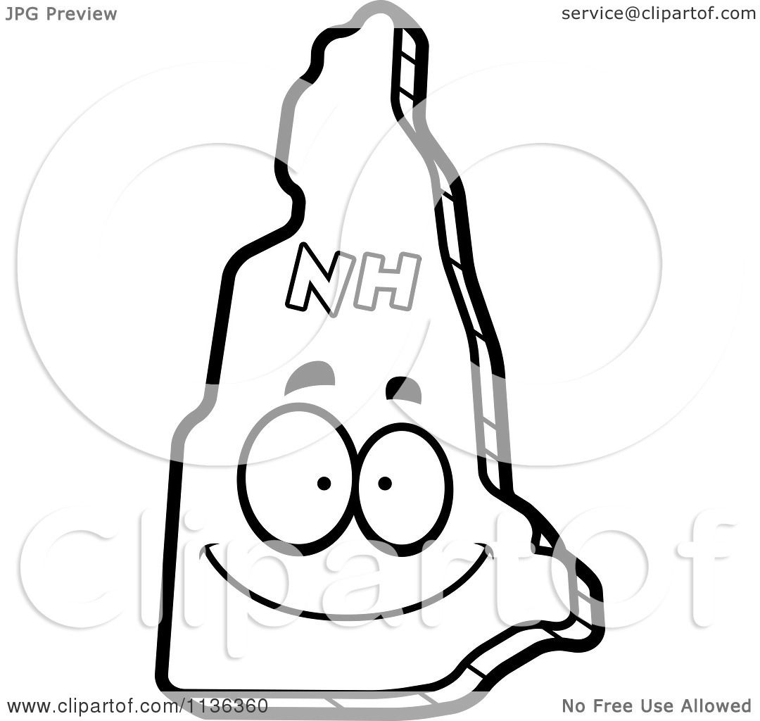 1080x1024 Cartoon Clipart Of An Outlined Happy New Hampshire State Character