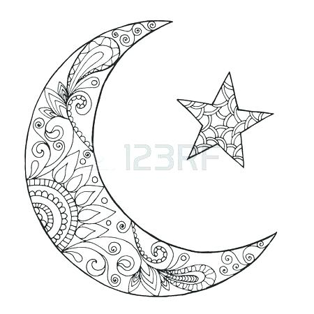 450x450 Moon Coloring Page Crescent Moon Coloring Page Crescent Coloring