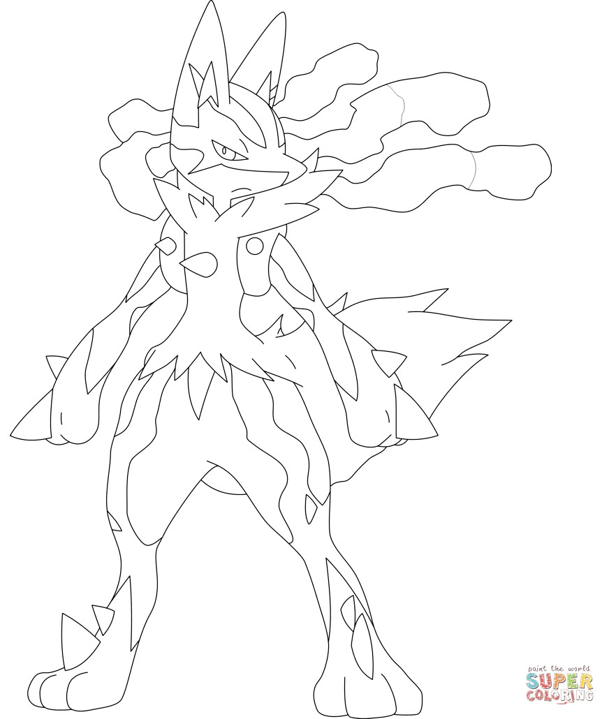872x1030 Pokemon Coloring Pages Mega Lucario New Mega Lucario Coloring Page