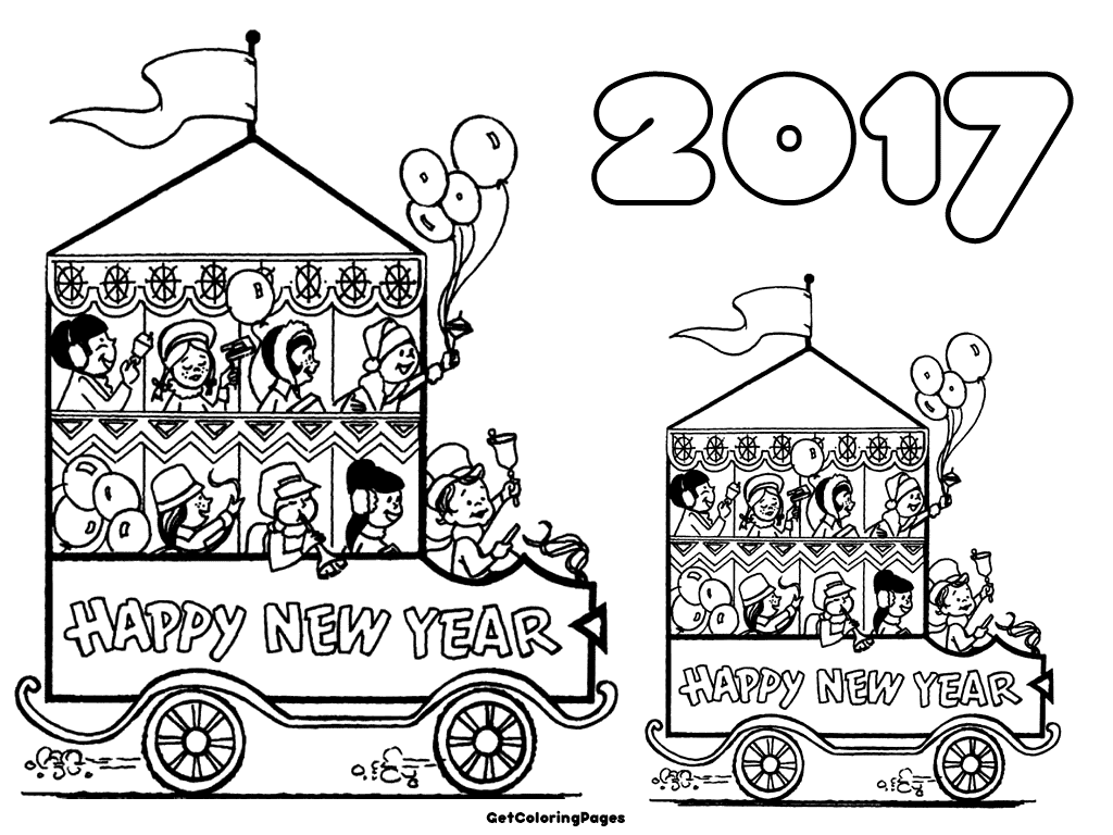 1024x768 Happy New Year Coloring Pages