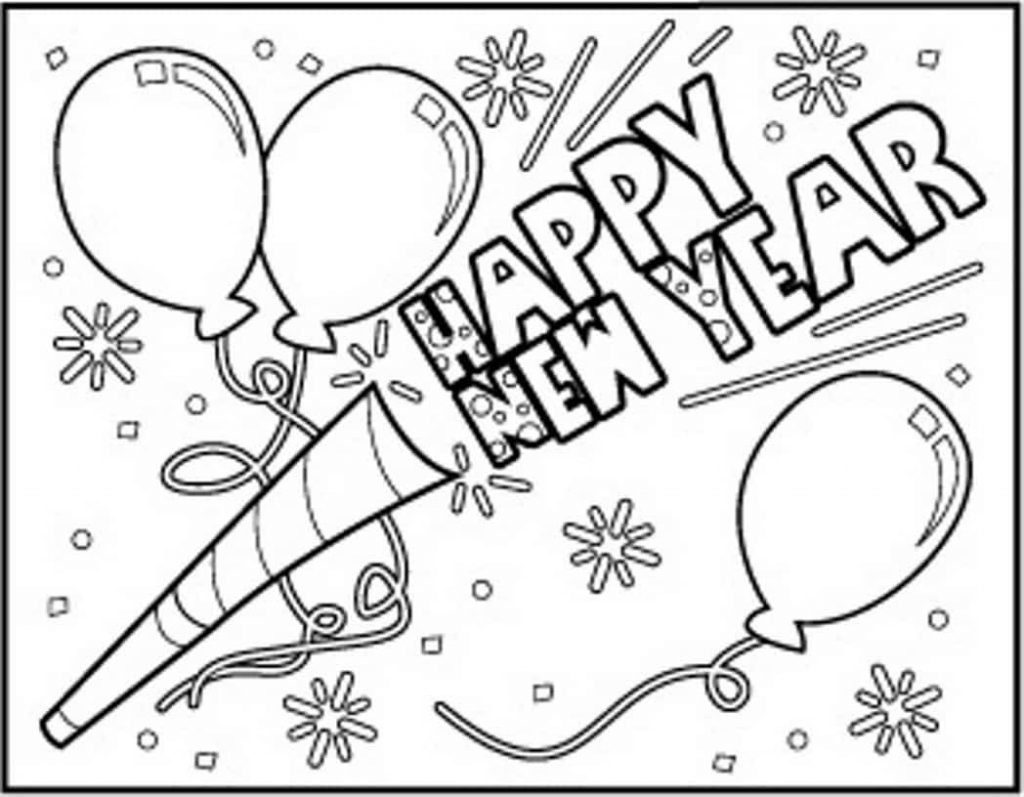 1024x797 Happy New Year Coloring Pages