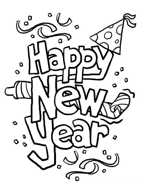 600x806 Happy New Year Coloring Page
