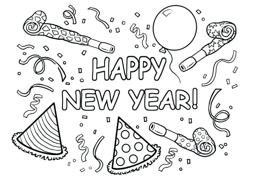 827x609 Happy New Year Colouring Pages