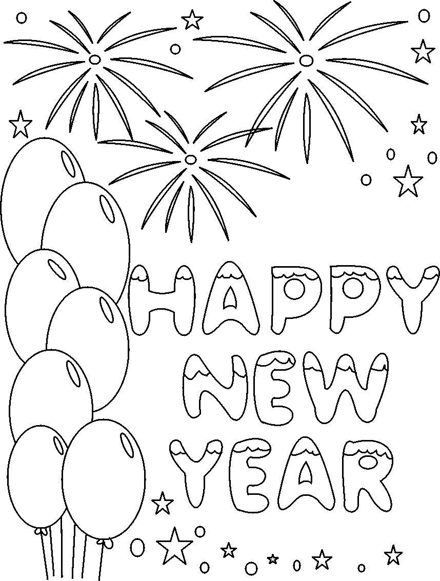 858x1133 Happy New Year Coloring Printable Pages