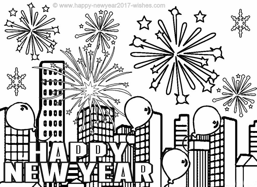 850x618 New Year Coloring Pages Free Printables