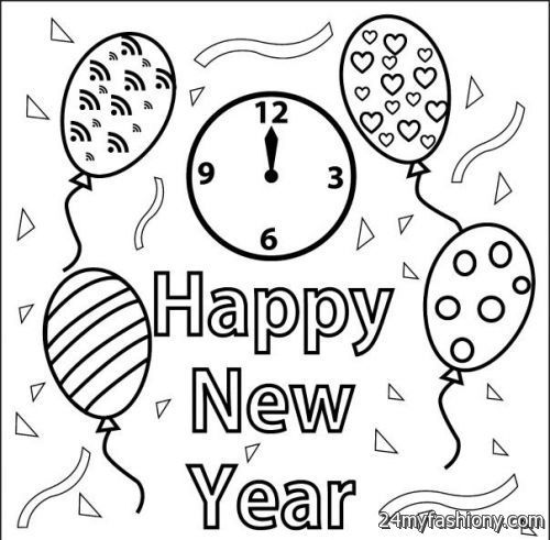 500x491 New Year Coloring Pages Free Happy New Year Coloring Pages