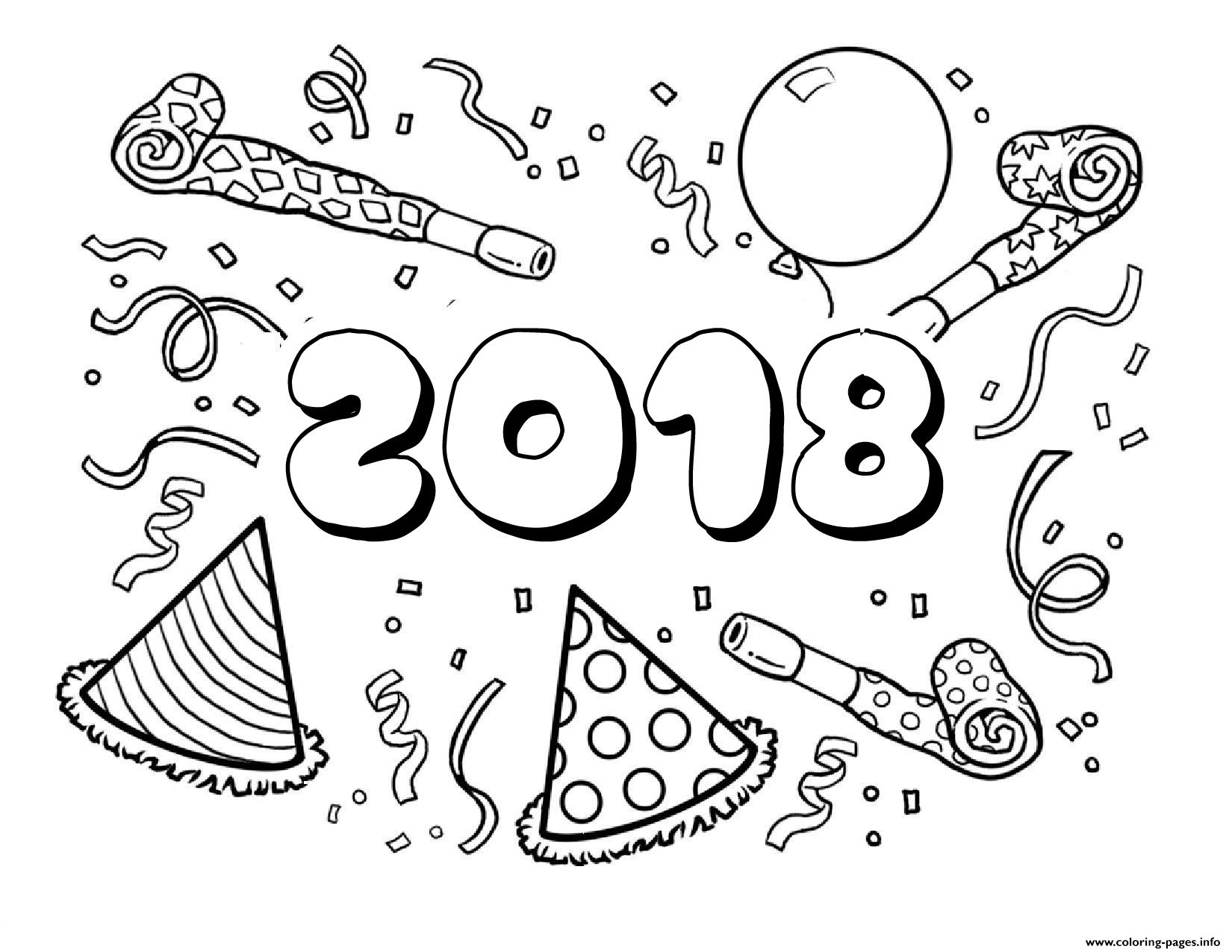 New Years 2018 Coloring Pages