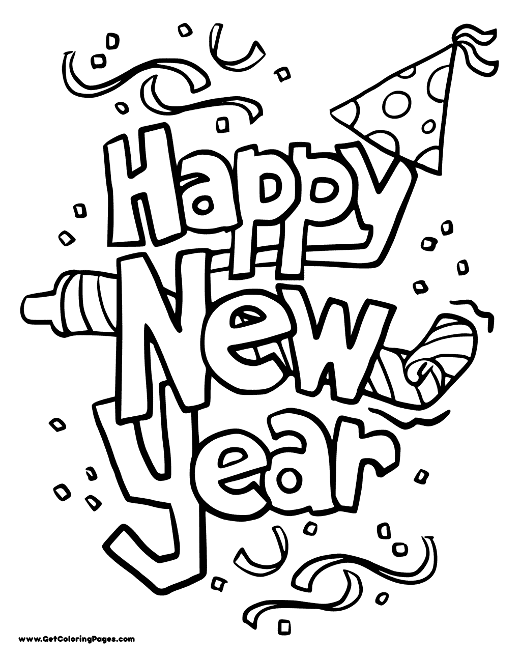 1024x1293 Happy New Year Coloring Pages
