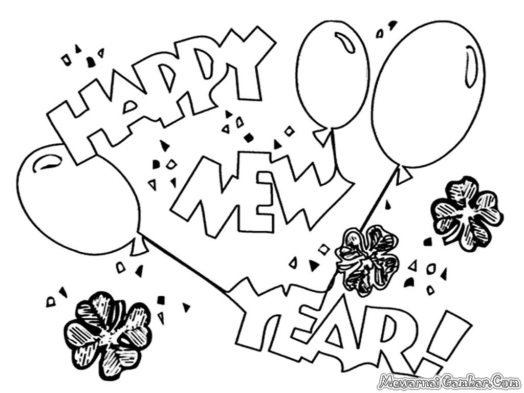 1024x768 Happy New Year Greetings, Printable Coloring Pages And Worksheets