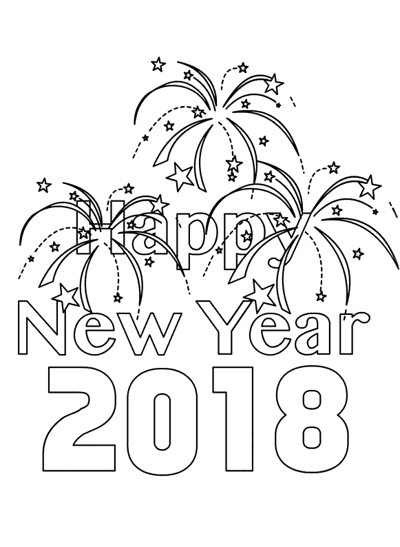 581x794 New Year Coloring Page New Year January