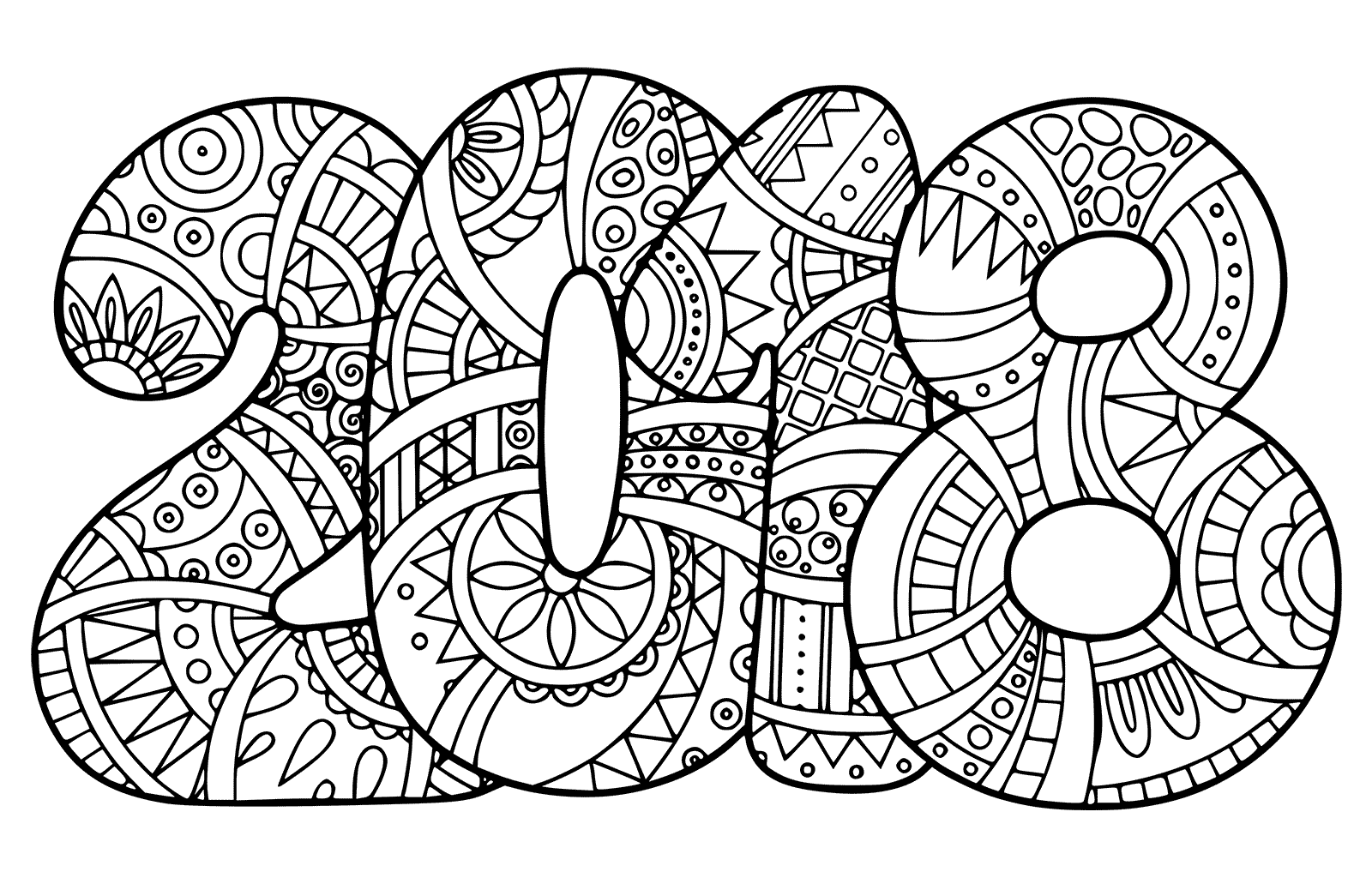 1600x1024 New Year Coloring Pages Doodle