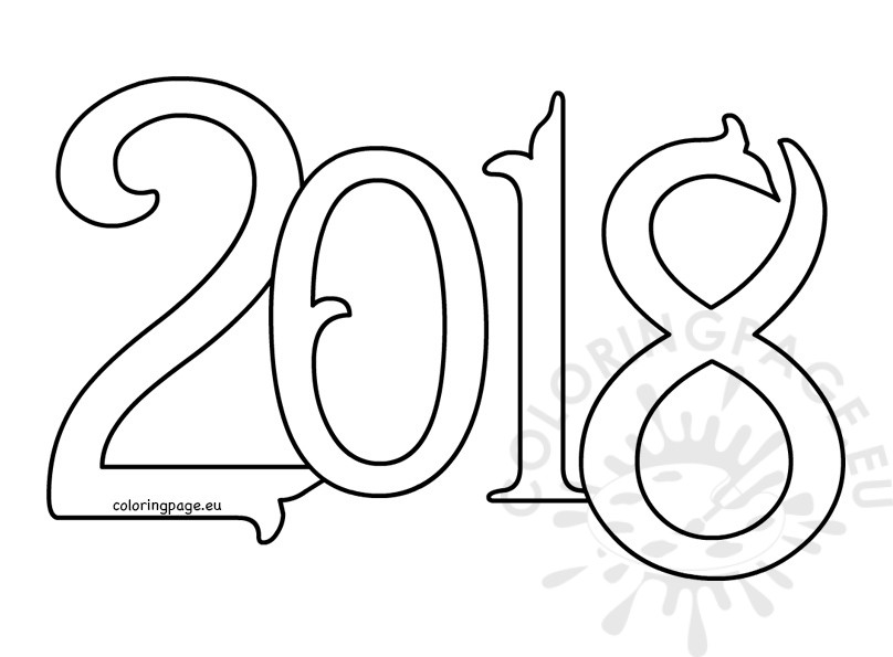 808x595 Vector New Year Coloring Page