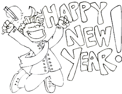 400x309 New Year Eve Coloring Pages Free Celebrations Coloring