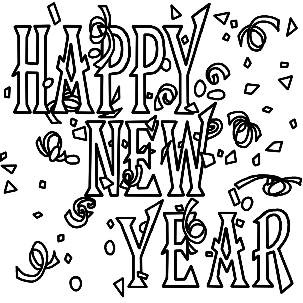1200x1200 Security New Years Coloring Pictures Best Year Banner Pages