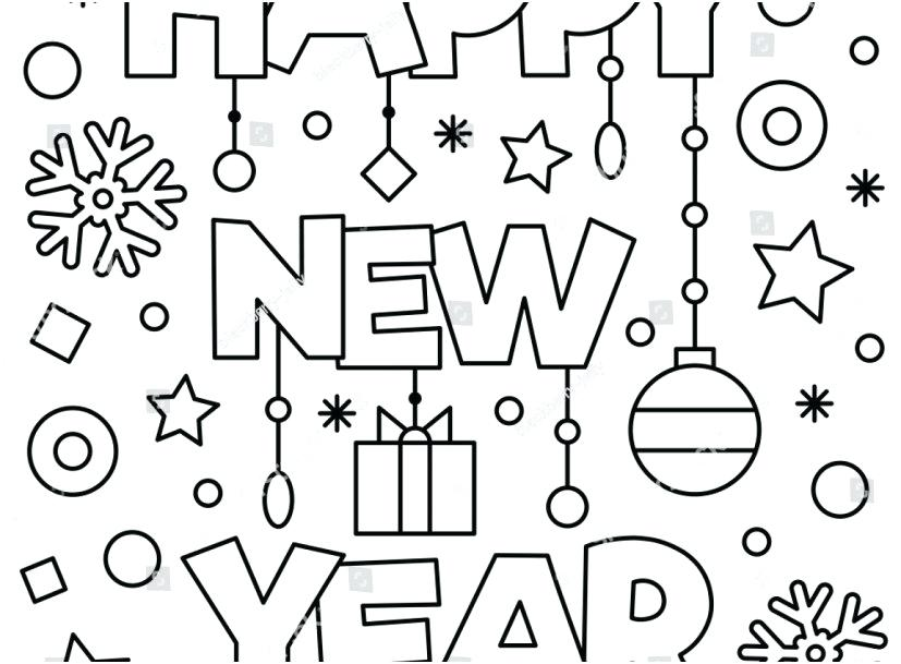 827x609 Happy New Year Coloring Page