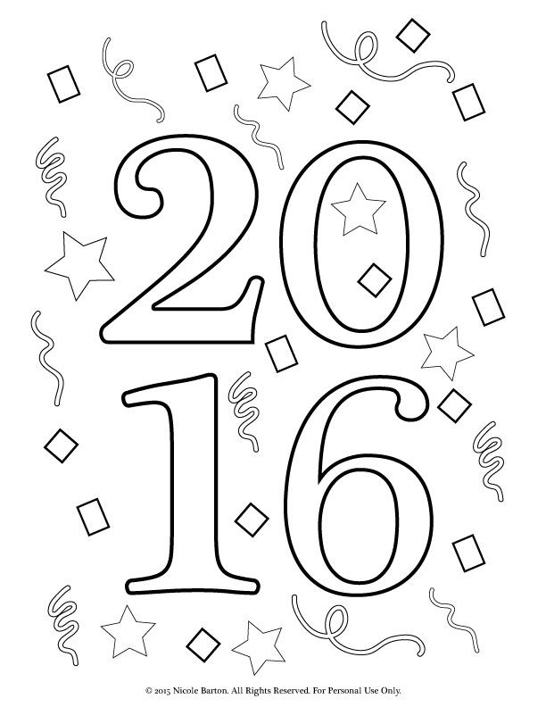 612x792 Free Printable New Years Coloring Pages For Kids, Happy New