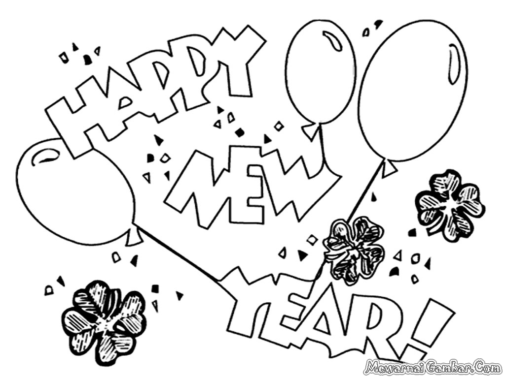 1024x768 Happy New Year Coloring Page