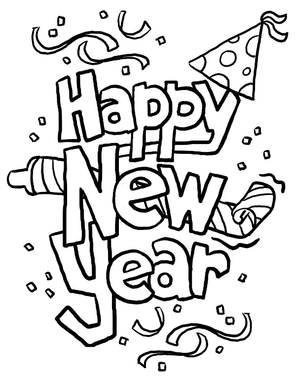 600x772 Happy New Year Coloring Pages Merry Christmas Happy New