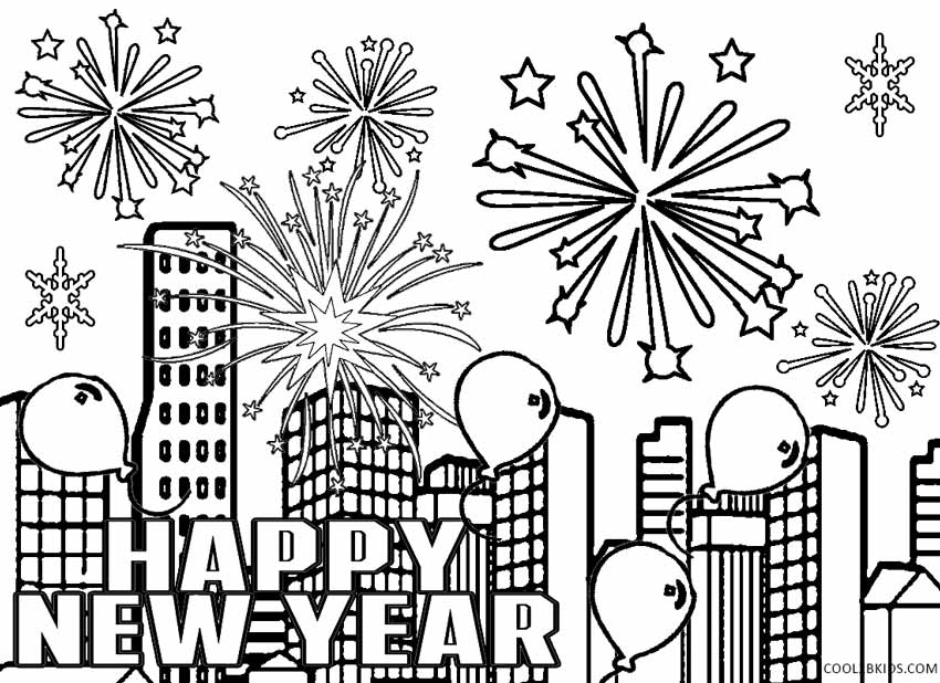 850x618 Happy New Years Coloring Page