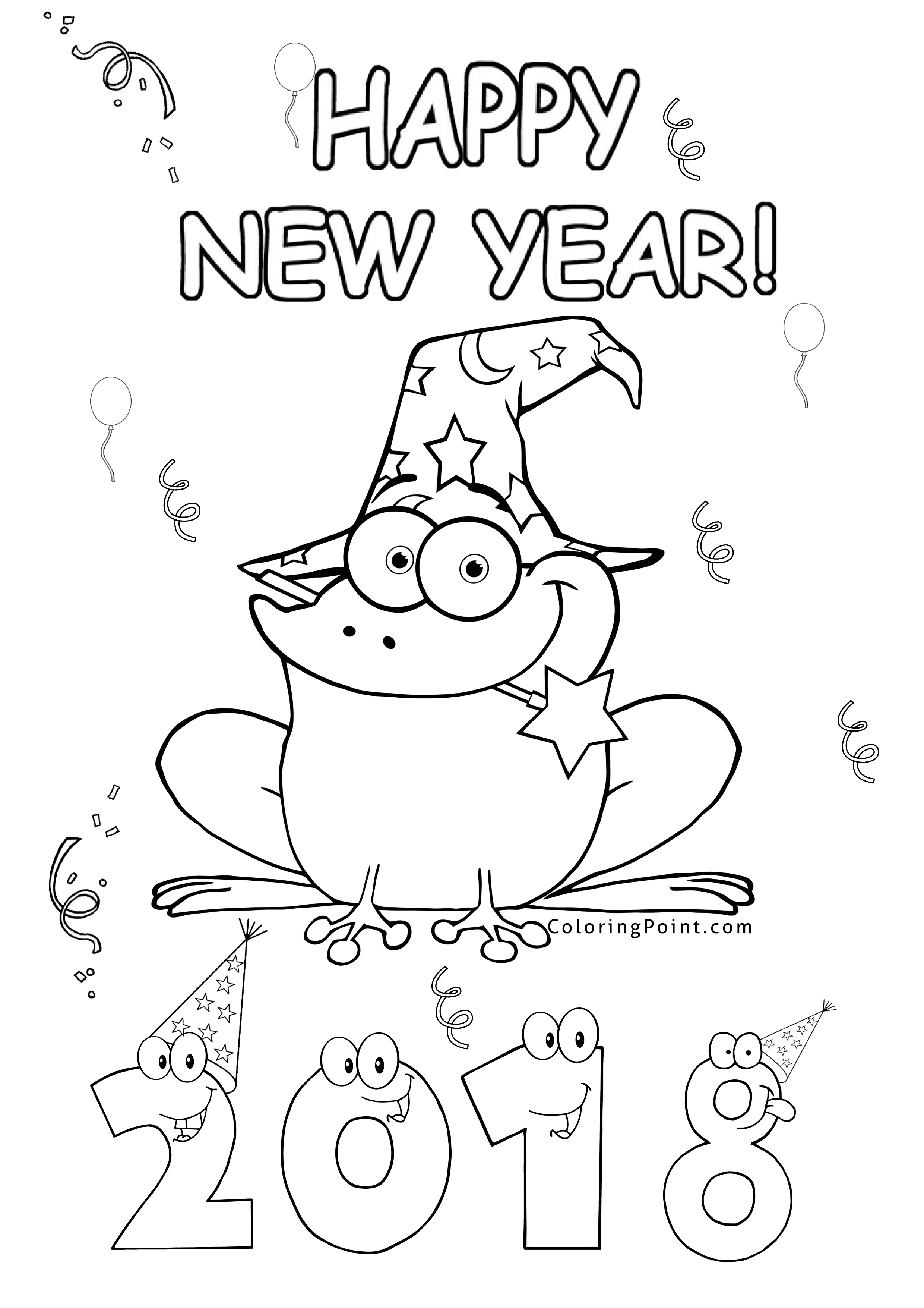 2480x3508 Happy New Year Coloring Page