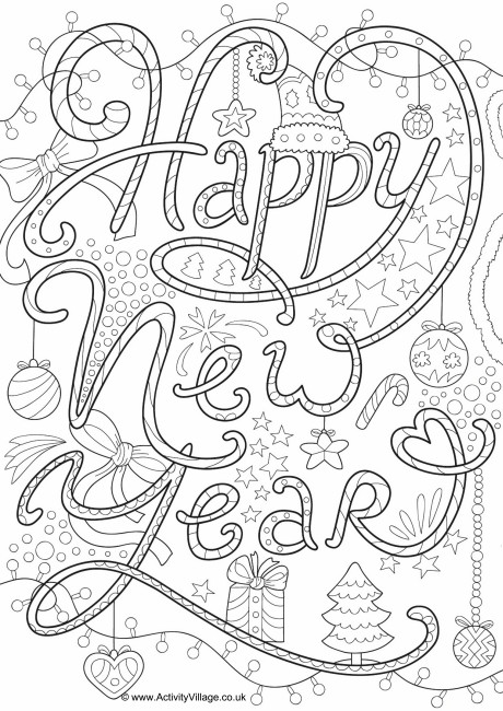 460x650 New Year Colouring Pages
