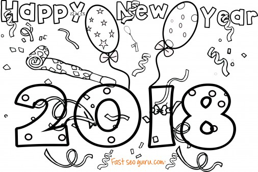 506x338 New Years Coloring Page For Kids