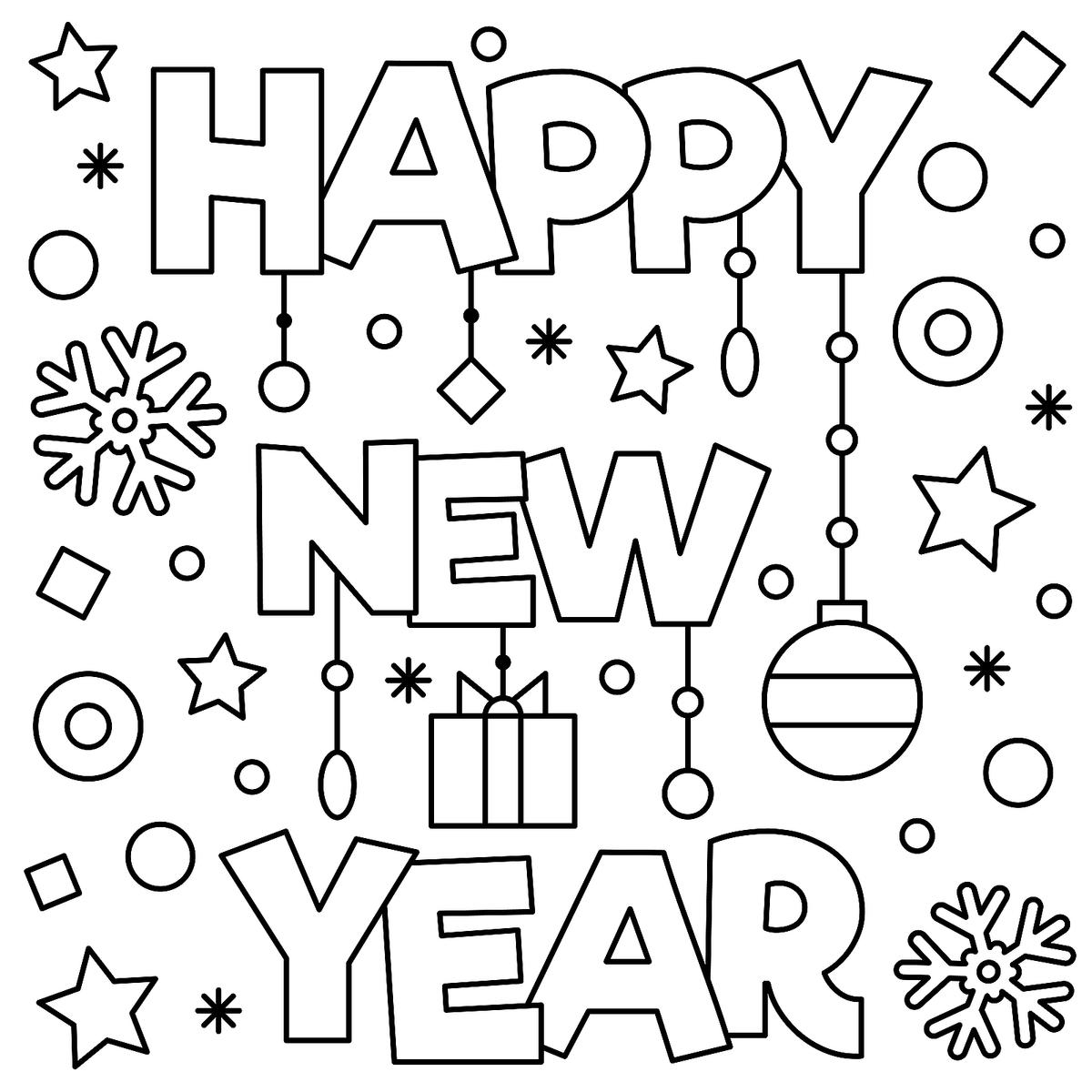 1200x1200 New Years Eve Coloring Pages