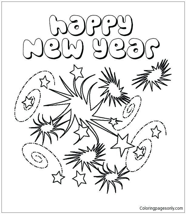 613x702 Firework Coloring Pages New Years Eve With Lots Of Firework