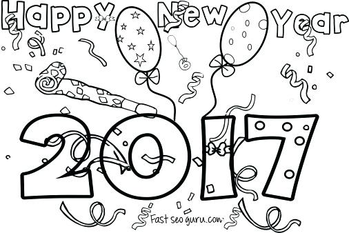 506x338 Printable New Year Coloring Pages Happy New Year Fireworks