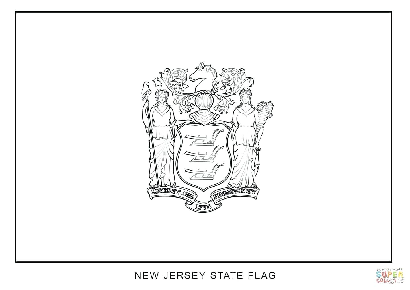 1440x1020 New Jersey State Flag Coloring Page