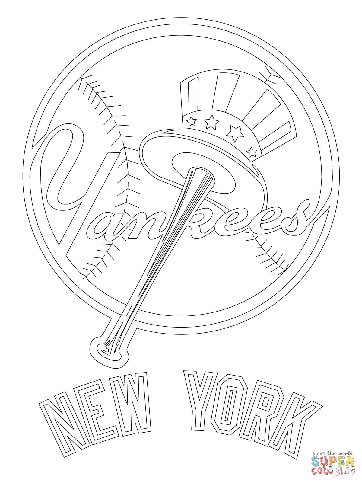 1200x1600 Approved New York Yankees Coloring Pages Free Logo Page Printable