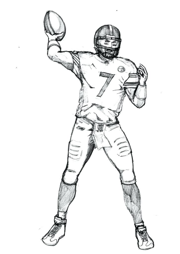 726x1024 Football Player Coloring Pages How To Draw Football Players Nfl
