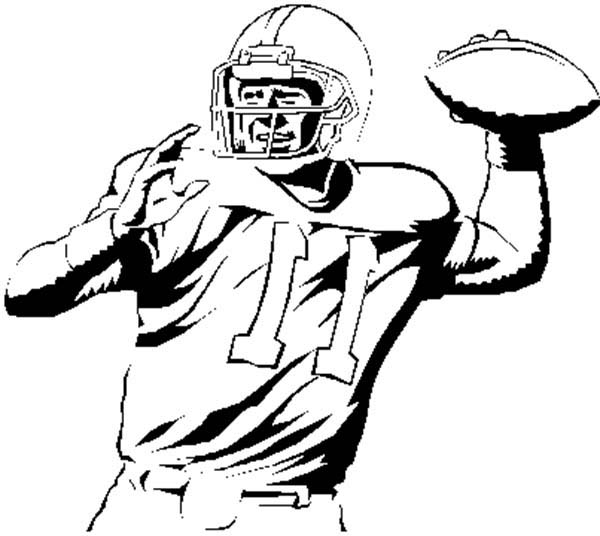 600x536 Nfl Player Throwing Ball Coloring Page Color Luna