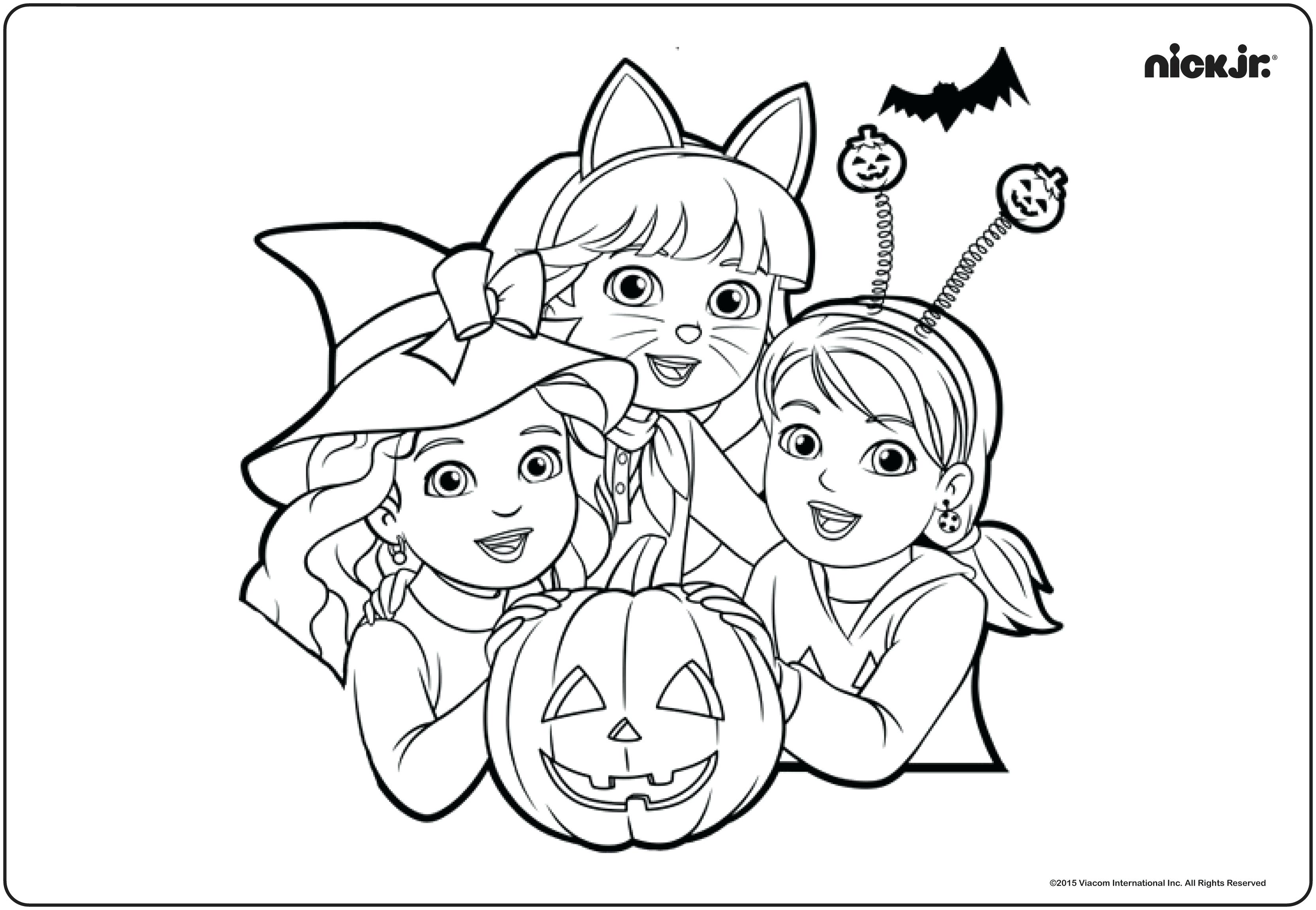 3332x2304 Nick Jr Coloring Pages Scary Pumpkins Halloween Nickelodeon Top