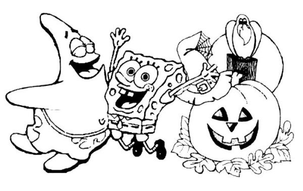 600x378 Spongebob Halloween Coloring Pages Halloween Coloring Pages