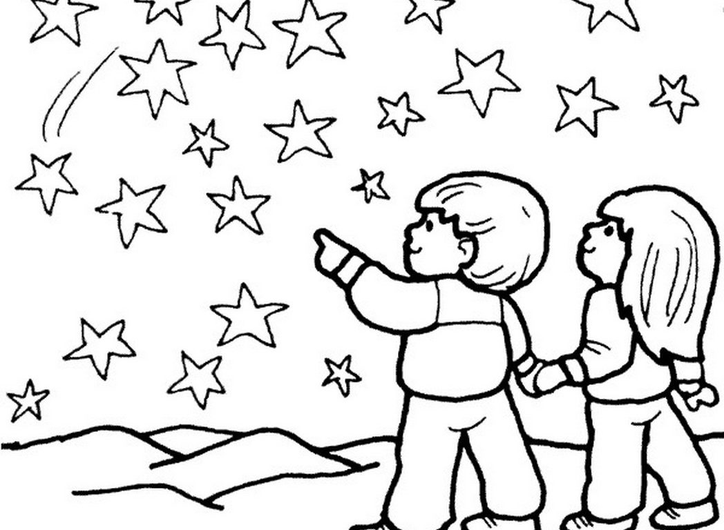 1048x768 Professional Starry Night Coloring Page Adult