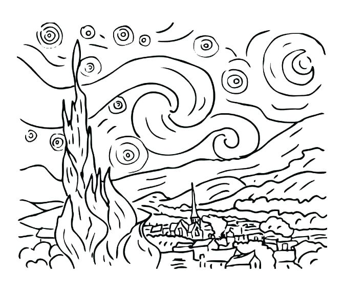 672x570 Self Portrait Coloring Page Van Coloring Pages Van Starry Night