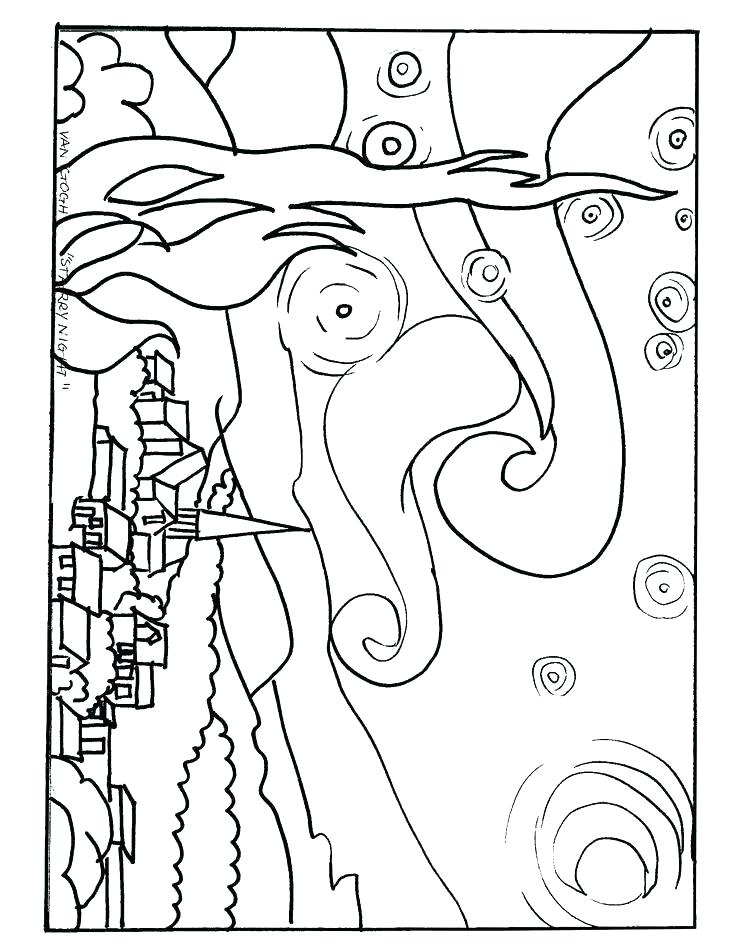 736x952 And Coloring Pages Starry Night Coloring Page Amazing Starry Night