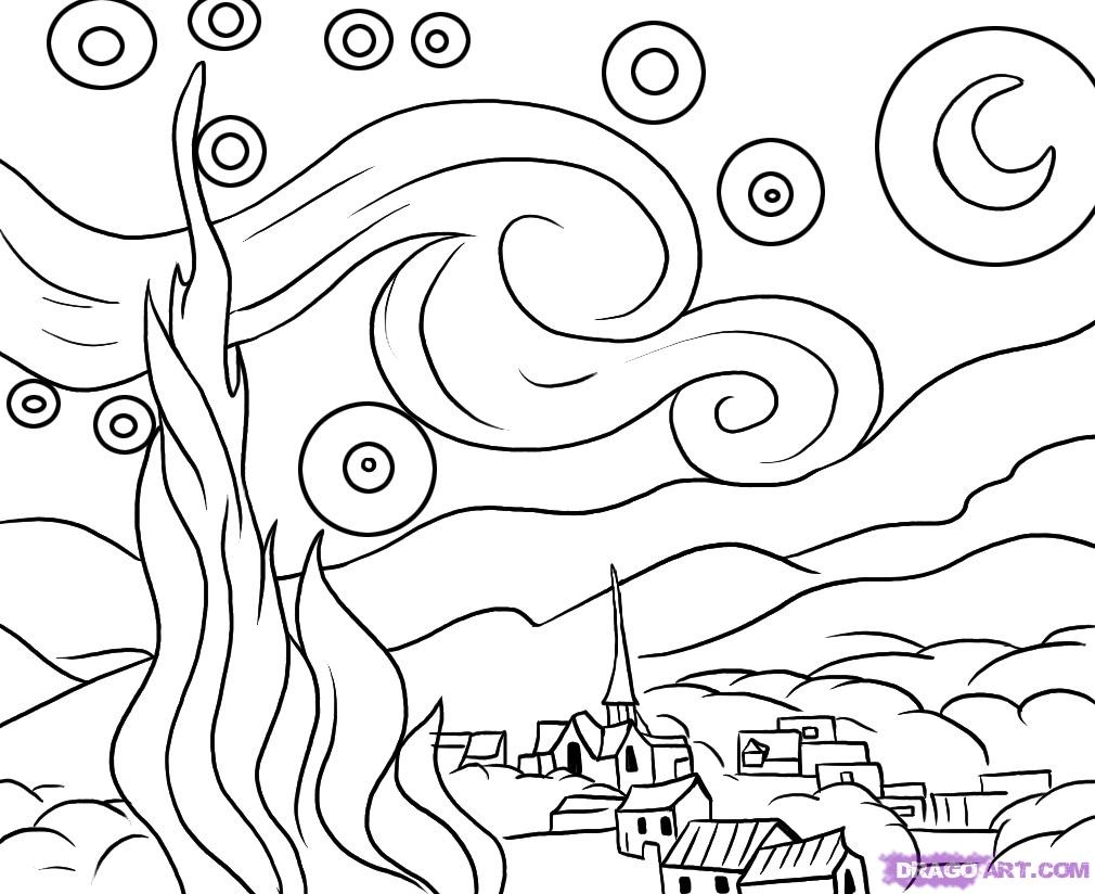 1010x824 Starry Night Coloring Page Unique Starry Night
