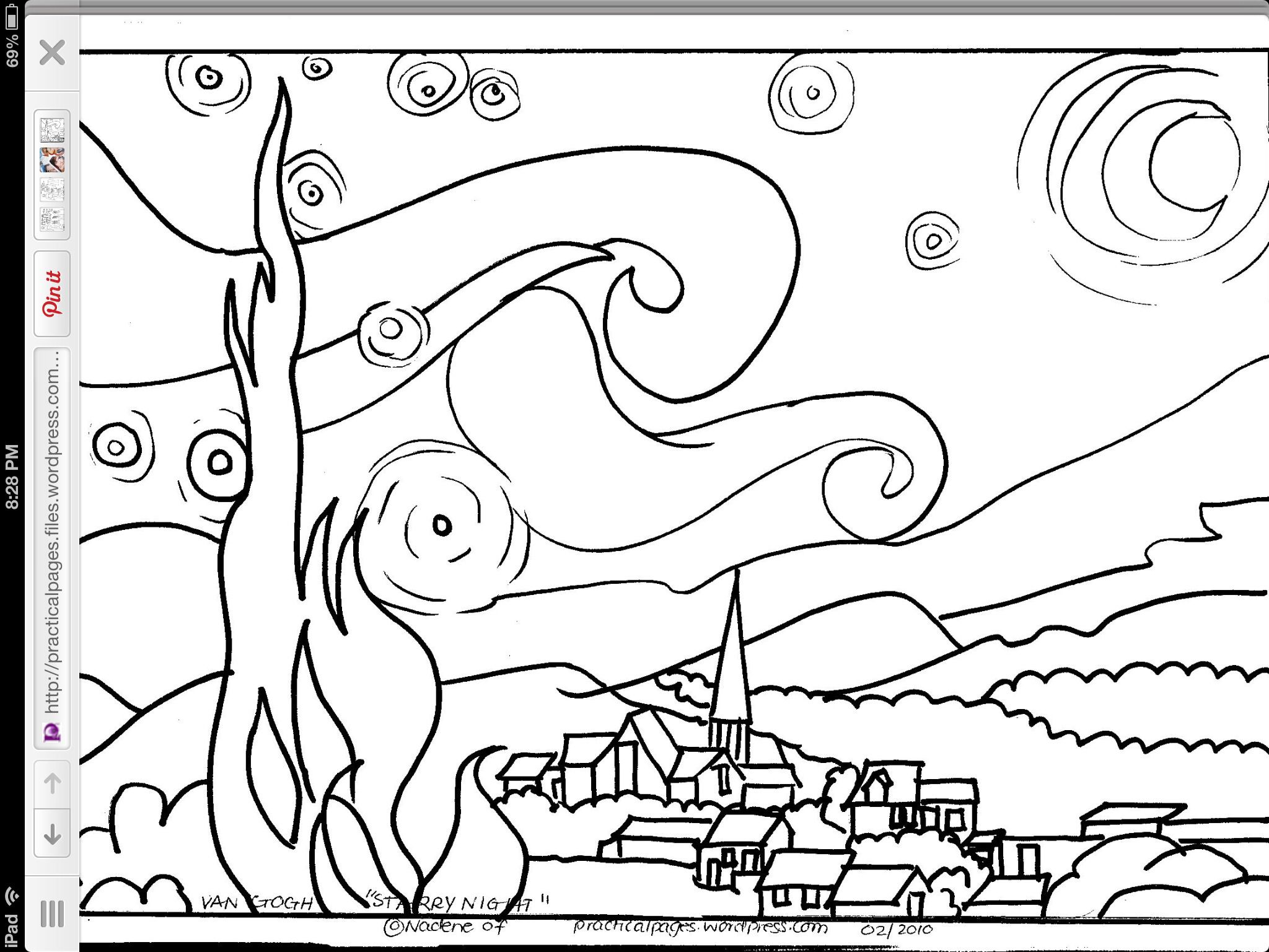 2048x1536 Starry Night Coloring Page Starry Night Art Handouts
