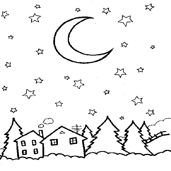 600x600 Starry Sky Coloring Page Printable Coloring Pages