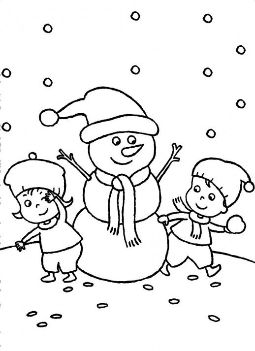 518x713 Two Kids Are Making Snowman In Winter Christmas Night Coloring