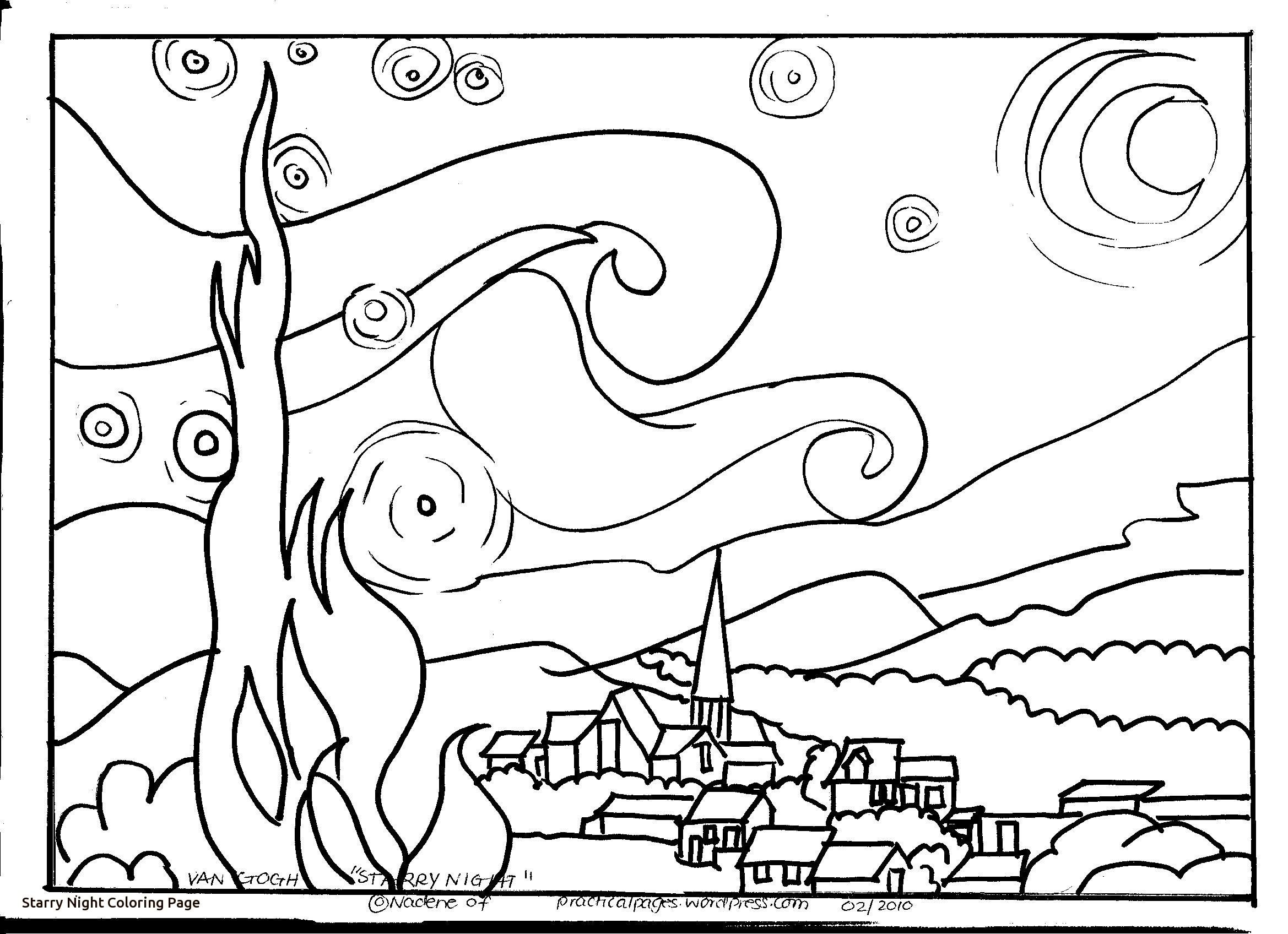2338x1696 Van Gogh Starry Night Coloring Page Collection Of Sky Coloring
