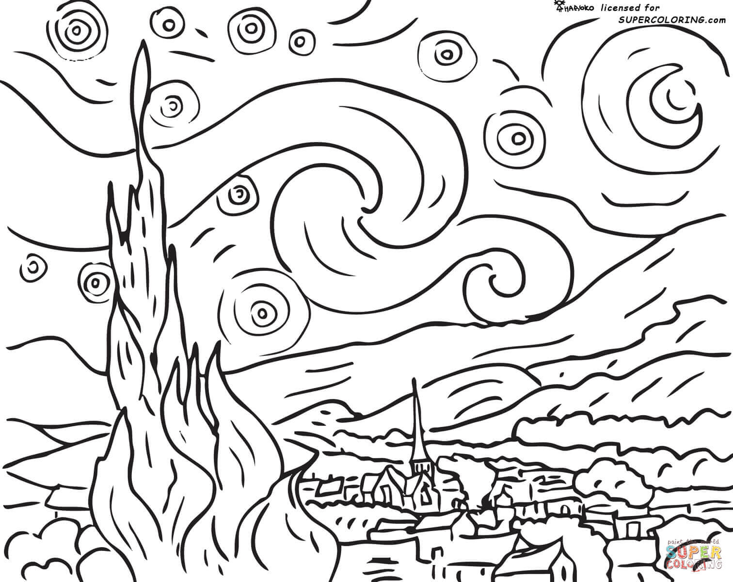 1512x1200 Starry Night Vincent Van Gogh Coloring Page Free Printable Starry