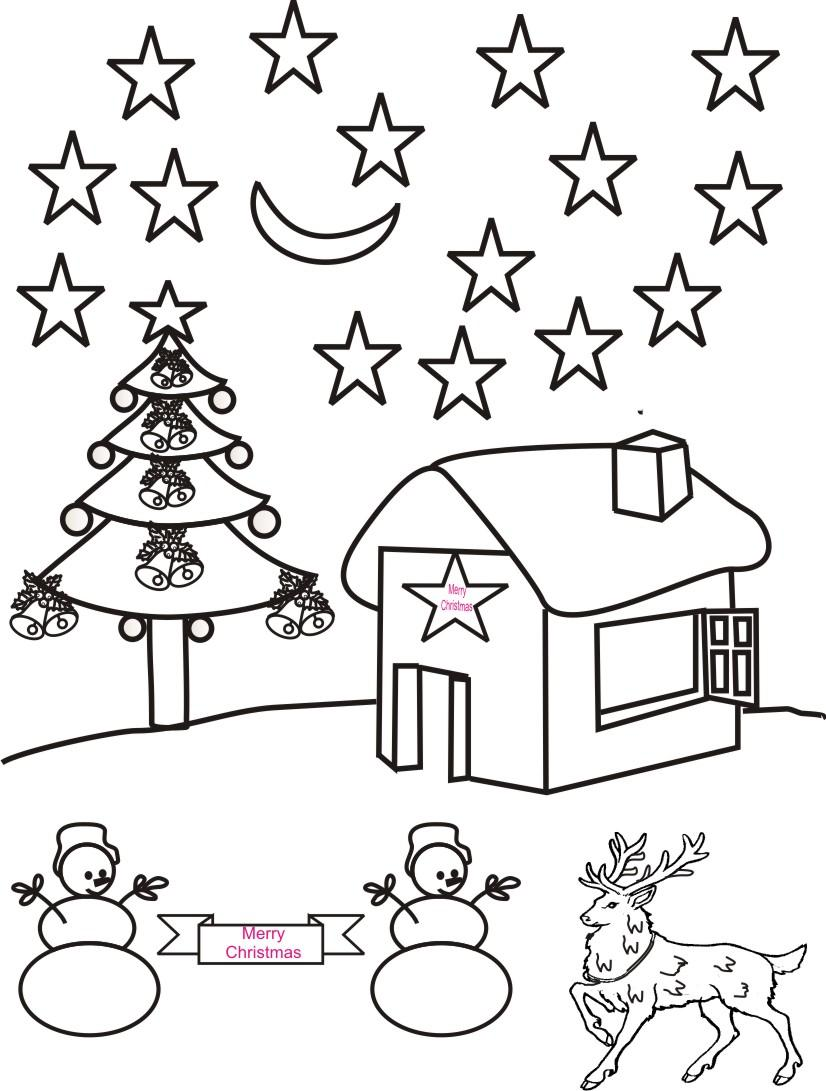 826x1091 Christmas Night Scenery Coloring Page