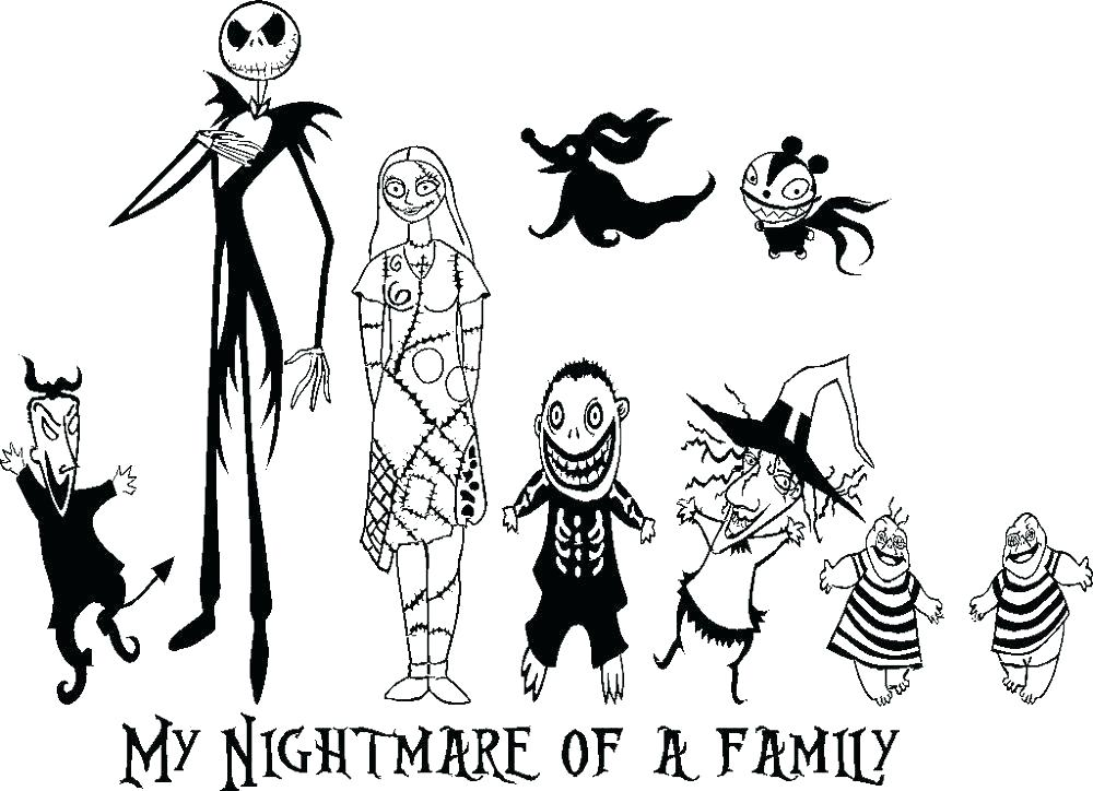 1000x724 The Nightmare Before Christmas Coloring Pages With Nightmare