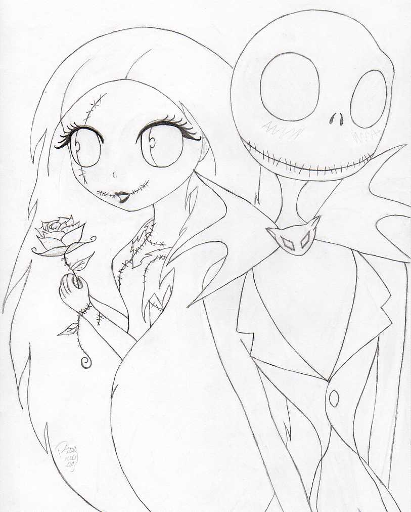 Nightmare Before Christmas Jack And Sally Coloring Pages