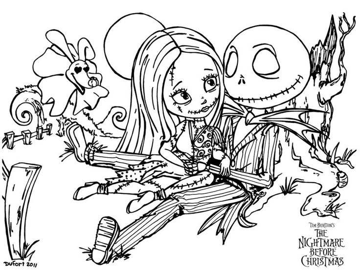 736x561 Cute Nightmare Before Christmas Coloring Pages Printable In Cure