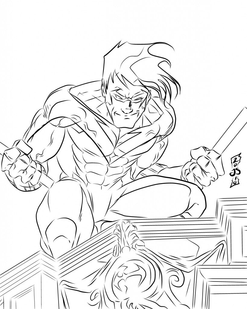 819x1024 Nightwing Coloring Pages For Kids Comic Book Coloring Pages