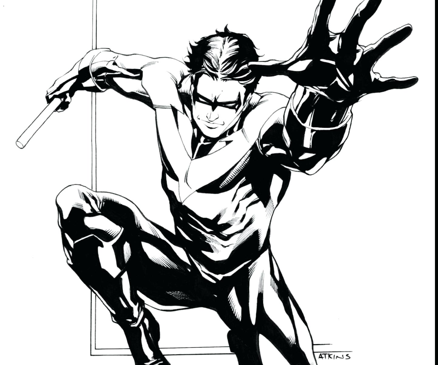 1442x1200 Batman Robin Nightwing Coloring Pages Redesign